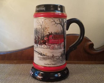 "Vintage Budweiser Anheuser-Busch Beer Stein 7"" Tall - 1990  - An American Tradition - Collectors Series- 8 horse Hitch and Wagon"