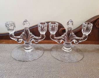 "Vintage Heisey Rose Trident Candelabra Set 6.5"" Long 2 Light Candelabra, Double Candlestick  2 Arm Candelabra Set, Wedding Decor"