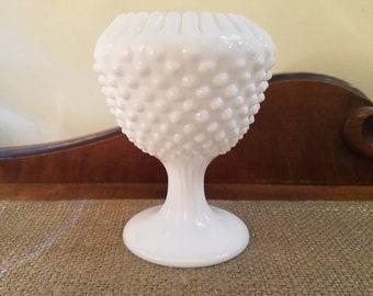 "Fenton Glass  5 1/2"" Milk Glass Hobnail Ribbon Edge Ivy Ball Compote - Pre 1970's - Hobnail Ruffled Pedestal Candy Dish"