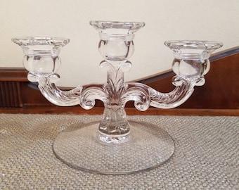 Vintage Cambridge Glass Diane Clear Candelabra - 3 Light Candelabra - Stem 3122 Candlestick Candelabra 3 Arm Candelabra, Wedding Decor