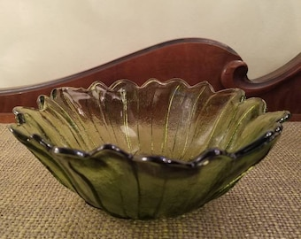 "Indiana Glass Green Glass Lily Pons 7 1/4"" Bowl, Indiana Glass Co. Large round Sunflower Bowl,  Avocado Green Glass"