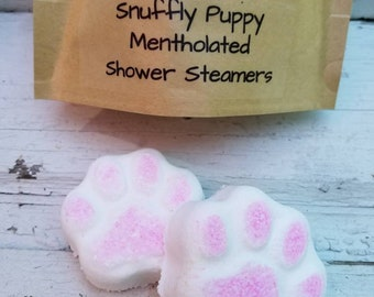 Value Pack of 30 Mentholated Shower Steamers, Snuffly Puppy, Choose Eucalyptus Mint, Lavender or Honey Lemon for allergy sinus relief