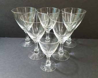 """Courtship Clear by Fostoria Crystal Water Glasses  6 1/4"""", Set of 5 Crystal Water Goblets + bonus Claret Wine Glass"""