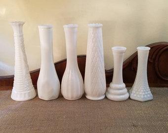 Vintage Milk Glass Vases - Set of 6 Mixed Lot - Wedding Decor - Shower Decor - Shabby - Country - Farmhouse - Cottage