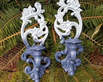 Vintage Homco Resin Candlestick Wall Sconce Set updated in Misty Lake Ombre - Hollywood Regency, 1971