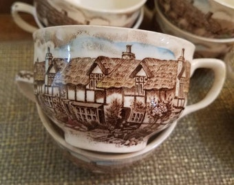 Johnson Bros Set of 8 Teacups (no saucers) - Olde English Countryside Brown Multicolor- 1974-1983