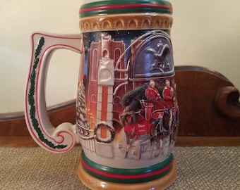 "Vintage Budweiser Anheuser-Busch Beer Stein 7"" Tall - 1997 -  Home for the Holidays - Collectors Series- CS313"