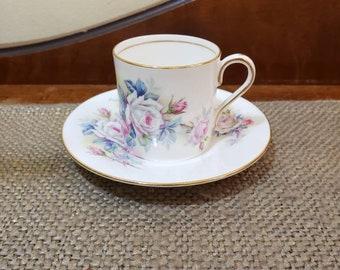Vintage Aynsley Demitasse cup Set in Multi color Large Roses, Pattern #28, Vintage Tea cup, Fine Bone China  Espresso cup & Saucer
