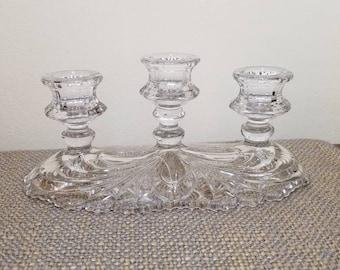 Cambridge Glass Caprice Clear Candelabra 3 Light Candelabra, Stem 300 Vintage Candelabra 3 Arm Candelabra, Wedding Decor