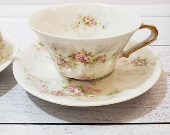 Vintage Haviland & Co Limoges France Teacup and Saucer in Marie Pattern - Pink Roses with embossed Edge - Set of 2 Teacups and Saucers