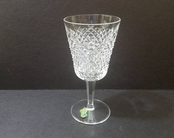 "Vintage Waterford Crystal Alana Water Glass 7.5"" Tall, Crosshatch Crystal Water Goblet"