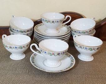Vintage PMR Jaeger & Co Footed Teacup and Saucer set of 8 full sets! Floral Vine Teacup Set Made in Bavaria