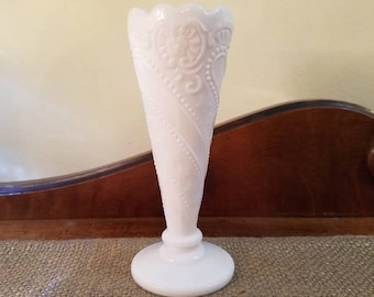 "Vintage Milk Glass - LE Smith Bud Vase 6 1/4"" Tall  - White Milk Glass Beaded Stars and Flowers Bud Vase, Wedding Decor"