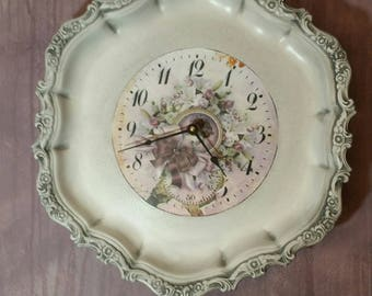 Unique Wall Clock made from Vintage Upcycled Silverplate Tray Clock in Gray