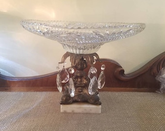 "Vintage Ornate Glass Shallow Compote Dish w pressed glass drops- Marble Base - Hollywood Regency- Glass Compote w Crystals - 8 7/8"" Tall"