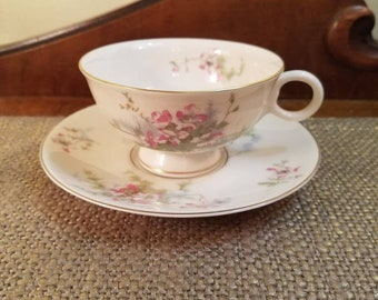 "Vintage Theodore Haviland NY Teacup and Saucer Set 3 1/4"" Tall - Apple Blossom Tea Cup- Vintage Fine Bone China Teacup & Saucer- Pink Apple"