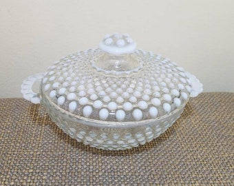 Fenton White Opalescent Covered Candy Dish with Handles