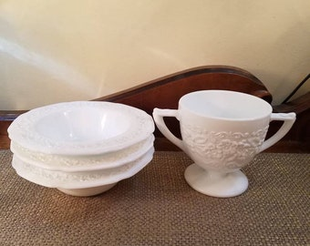 "Vintage Milk Glass open Sugar Bowl - Indiana Glass  3 1/2"" T - Milk Glass 5 1/2"" Berry Bowls (3), Saucers (2)"