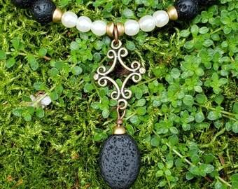 Handmade Gemstone Necklace, Semi-precious with Matte Gold Tone, Aromatherapy Pendant, Lava Stone, Real Pearl, Black and White