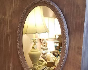 """Vintage Oval Mirror in Lilac - 31 3/4"""" Tall - Poly Resin Vintage Mirror"""