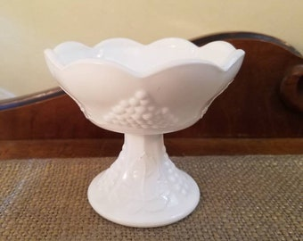 """Indiana Glass Co. Milk Glass Candlestick, 4"""" Tall Grape Harvest Design Bowl Style Candle Holder"""