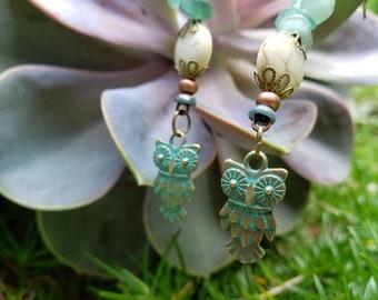 Handmade Gemstone Dangle Owl Earrings, Magnesite, Aventurine, Czech Bead, Oxidized Antique Brass Fish hook Earrings, Hooter Bird