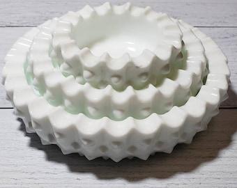 Vintage Fenton Milk Glass Hobnail Ashtray Set of 3, PRE Logo, Milk Glass Stacked Ash Trays, Small Chips