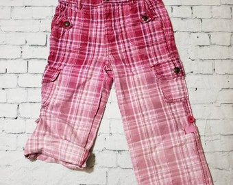 Kids Bleached Cotton Plaid Pants Girls 4T Hand Bleached in Cool Ombre Fade Updated Pink Cord bottoms