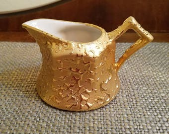 "Vintage Weeping Gold Cream Pitcher - 2 1/3"" T - Weeping Gold Creamer - Vintage Gold Cream Pitcher - Weeping Bright Gold Cream Pitcher"