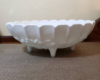 Milk Glass Fruit Bowl by Indiana Glass Co., Garland Oval Console Bowl, Oval Fruit bowl