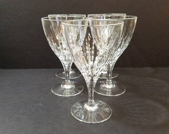 "Vintage Flared Bowl Crystal Wine Glass 6.5"" Tall,  Set of 5 Crystal Glasses, Vertical Marquise Cut"