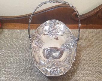 Antique Silverplate Brides Basket Oblong Grape Repousse, Homan Manuf Co Quadruple Plate, 2527 Patented 1903