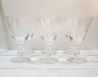 "Swirl by Fostoria Crystal Stemware - 6 1/8"" - Set of 6 - Etched Crystal Water Goblet Glasses, Vintage Crystal Wedding Decor, Split Stem"