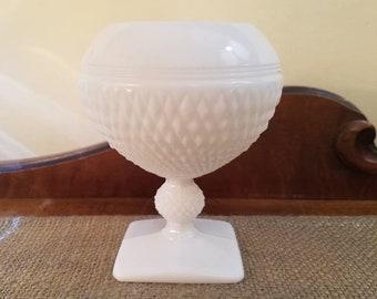 "English Diamond Hobnail Pedestal Rose Bowl - 6"" Tall Rose Bowl Milk Glass English Hobnail Stem Square Base - Translucent White"
