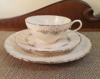 Lenox Teacup Trio Set in Musette Pattern, Vintage Tea cup, Teacup, Saucer and Salad Plate , Platinum Trim #F507