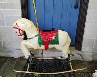 Vintage Joy Rocker Carousel Rocking Horse - 1980's Rocking horse - White Rocking Horse - JR Carousel Horse
