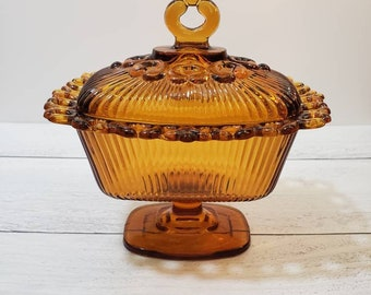 Vintage Amber Indiana Glass Open Lace Rectangular Candy Dish with Lid, Amber Glass Pedestal Compote