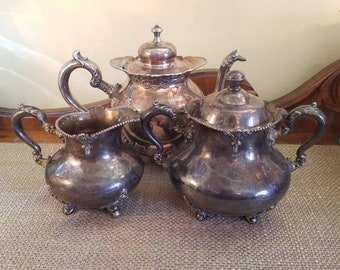 Antique Silverplate Tea set by  Manhattan Silverplate - Quad Plate #1023/ Meridan B Company #2027, Made Late 1800's - Early 1900's - Ornate