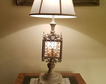 Vintage Updated Hollywood Regency Chandelier Style Lamp in Creamy Dreamy Latte - Sold WITHOUT Shade