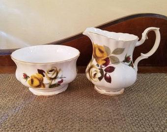 Royal Albert Mini Creamer and Open Sugar Yellow and White Roses - Cream Pitcher + Sugar Bowl - Vintage English China - Gold Trim