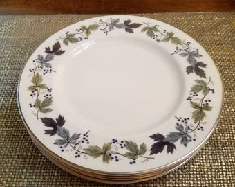 """Vintage Royal Doulton Burgundy Salad plate (Set of 5)  8"""" Diameter - Grape Leaf - Vintage China Salad Plate - Made in England - TC101"""