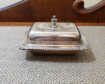 Vintage Silver plate Butter Dish with Heating well, Mini Butter dish, Drawn Butter Dish