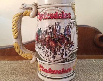 "Vintage Budweiser Anheuser-Busch Beer Stein 6 3/4"" Tall - 1983 - Wheatland relief Collectors Series"