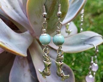 Handmade Gemstone Dangle Mermaid Earrings, Semiprecious, Choose Stainless Steel or Antique Brass, Pink or Lavender Jade, Howlite