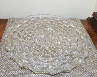 """Vintage Colony Glass Whitehall 3 Footed Cake Plate, 12"""" Hexagonal Footed Plate, Cubist Short Cake Plate, Whitehall Pressed Glass"""