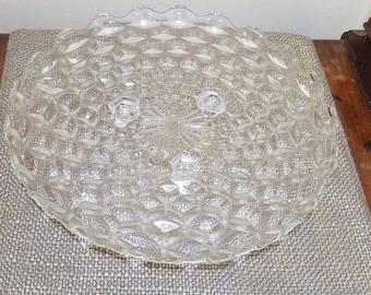 "Vintage Fostoria American Glass 3 Footed Cake Plate, 12 "", S Curve Footed Plate, Cubist Short Cake Plate. 1950s Fostoria Torte platter"