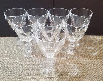 """Cristal D'Arques-Durand Rambouillet Claret Wine Glass, 5 1/2"""" Vintage Set of 8 or 6 Vintage Crystal Claret Glasses"""
