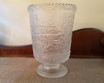 "Vintage Fenton Fairy Light Vase with Currier and Ives 6 1/4"" Tall - Fenton - Clear Crystal Velvet Glass -  Fenton Fairy Light #8409"