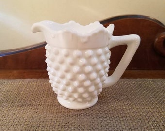 Fenton Milk Glass Hobnail Short Cream Pitcher, Hobnail Creamer w Handle