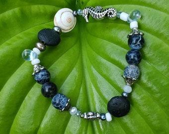 Handmade Gemstone Stretch Bracelet, Semi-precious Sea Life Theme, Aromatherapy, Pearl,  Fire Agate, Lava Stone Beach Charm Dangles